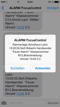 SMS Alarm Mitteilung Alarmsysteme für Schule