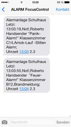SMS Alarm Mitteilung Beispiel Alarmsysteme für Schulen, Behörden und öffentliche Gebäude